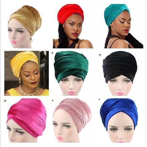 170*26cm 10 cores mulheres headwear veludo headwrap africano cabeça envoltório gravata cachecol torção faixa de cabelo turbante bandagem hijab chapéus