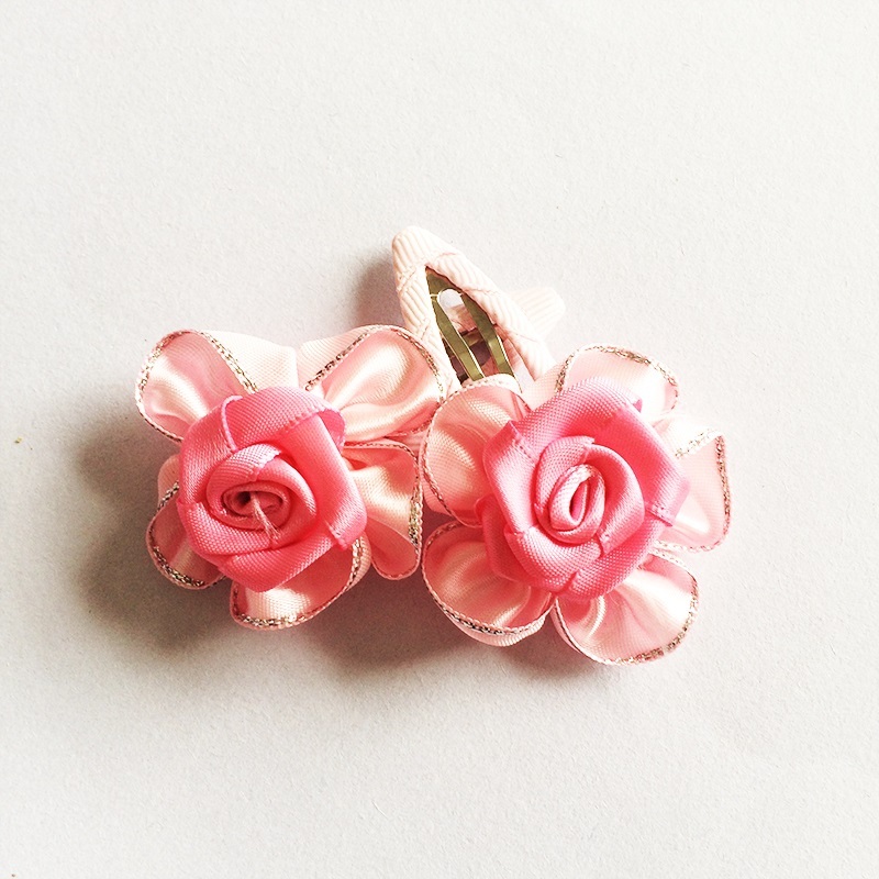 1 Pcs lot New Ribbon Rose Hair Clips High Quality Girls Hair Wear Kids Silver Lace Hairpins Children Hair Accessories in Hair Accessories from Mother Kids
