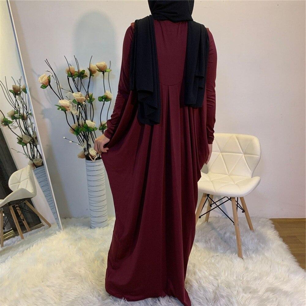 Eid Stretchy Pleated Baggy Long Maxi Dress Abaya Muslim Women Fashion Solid Color Long Sleeve Hijab