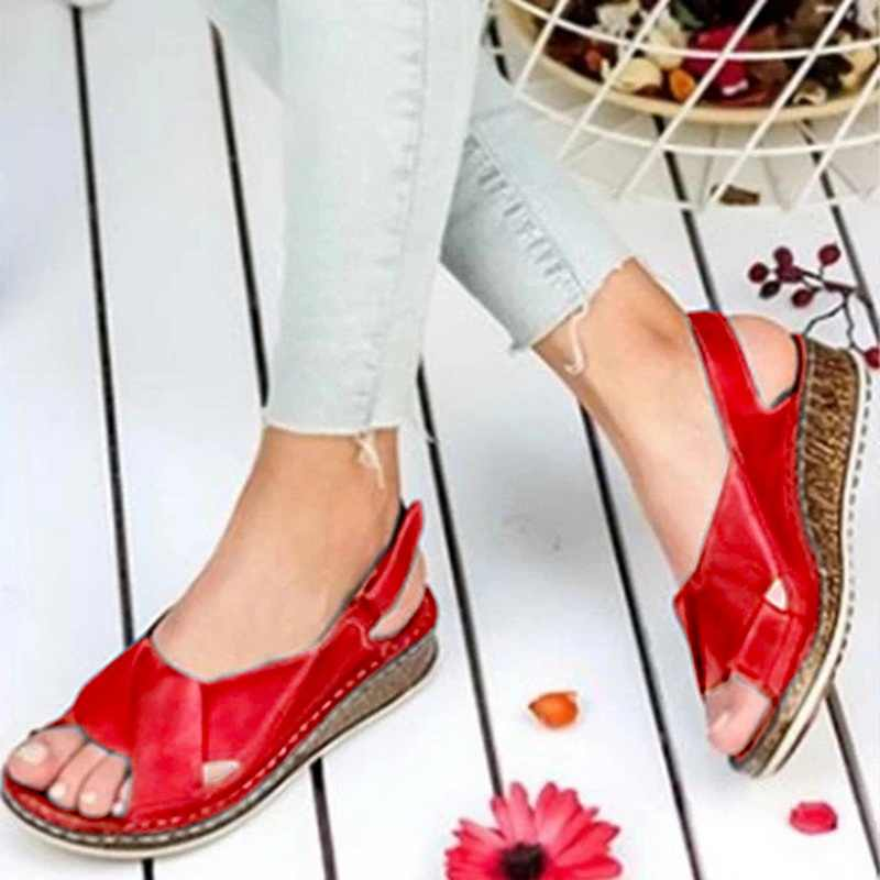 MoneRffi Women Sandals Summer 2020 Female Shoes Woman Peep-toe Wedge Comfortable Sandals Slip-on Flat Sandals Female Sandalias