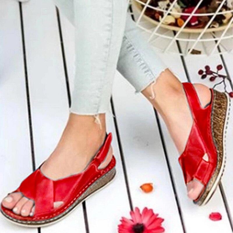 MoneRffi Women Sandals Summer 2020 Female Shoes Woman Peep-toe Wedge Comfortable Sandals Slip-on Flat Sandals Female Sandalias(China)