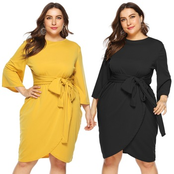 Sashes Dress Women Sheath Knee-Length Long Sleeve Spring Plus Size Summer Dress Casual Office Lady Dress Solid Irregular Dresses tanguoant spring and summer girl dress black and gray irregular hem dress long sleeves solid dress for kids