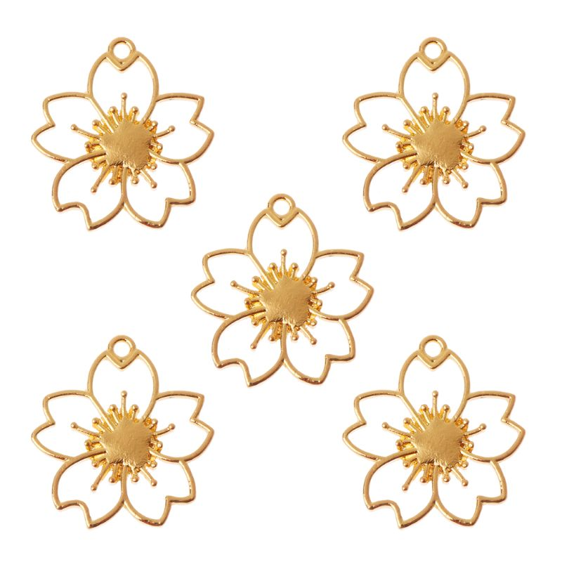 5Pcs Cherry Flower Blank Resin Frames Pendant Bezel Setting Resin Jewelry Making N58F
