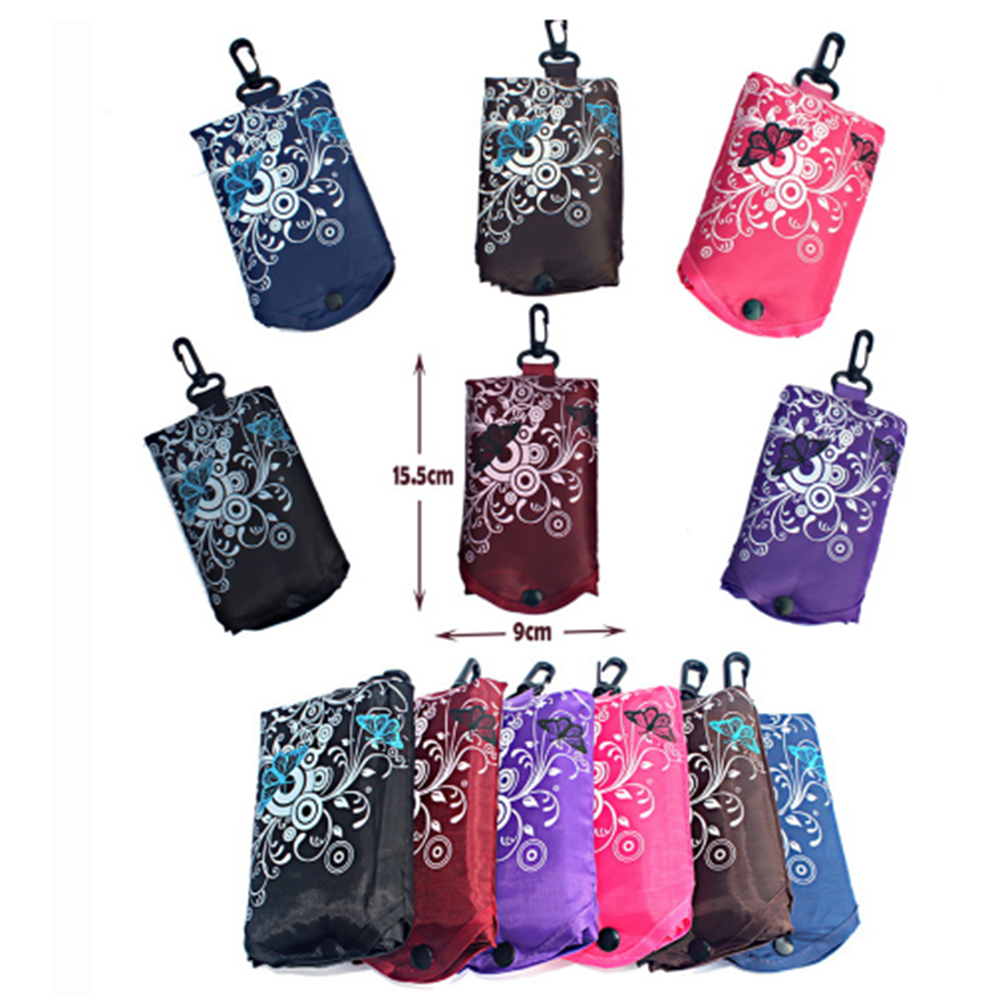 Butterfly Pocket Shopping Tool Eco Folding Shoulder Handle Bag Travel Grocery Reusable Fruit Grocery Pouch Recycle Organization
