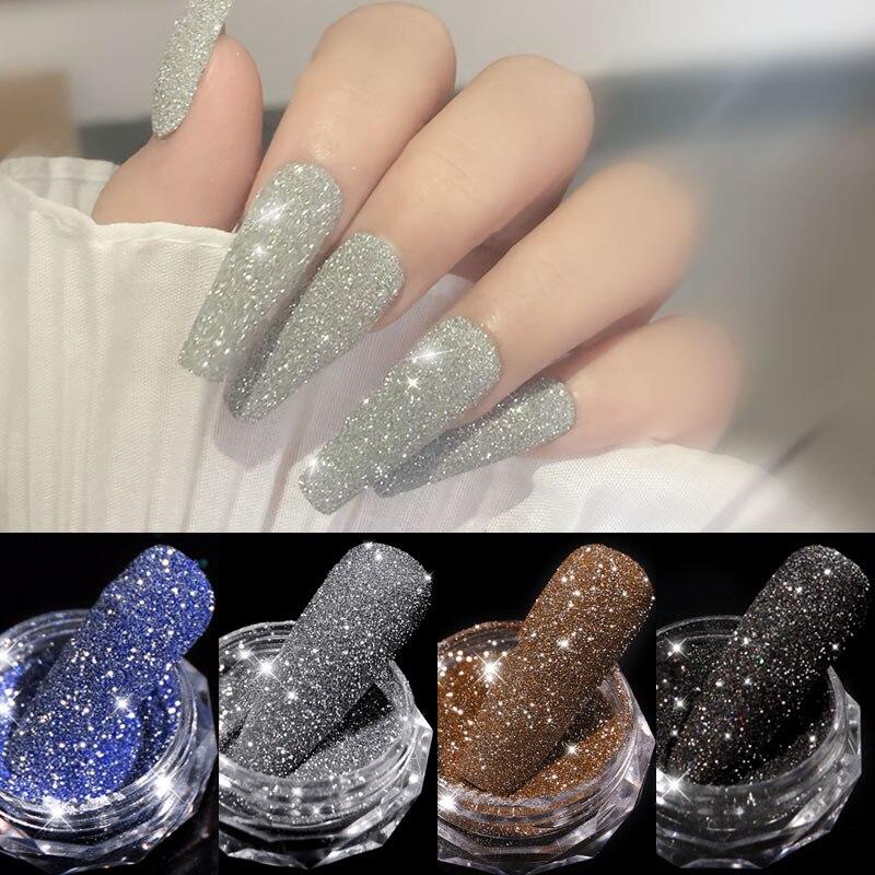 1Box Funkelnden Diamant Nagel Pulver Laser Silber Reflektierende Nagel Glitter Staub Feine Shiny Pigment Holographische Nagel Kunst Dekorationen