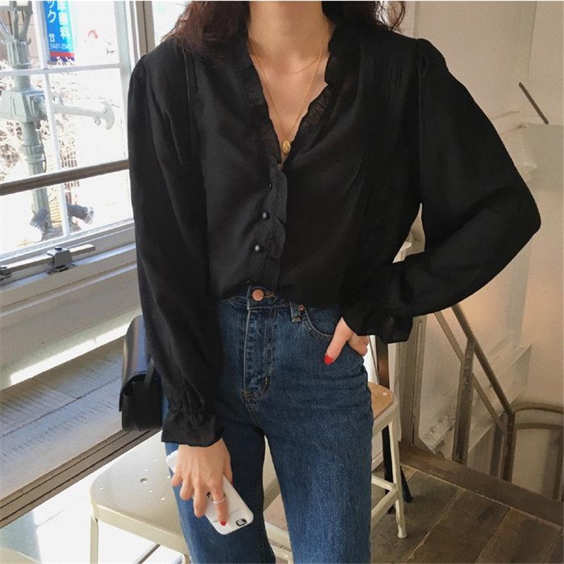 HziriP Minimalist Solid 2020 Chic Streetwear Femme Blusas Camisas Mujer Ruffles Loose Basic Tops Shirt Women Vintage Blouses
