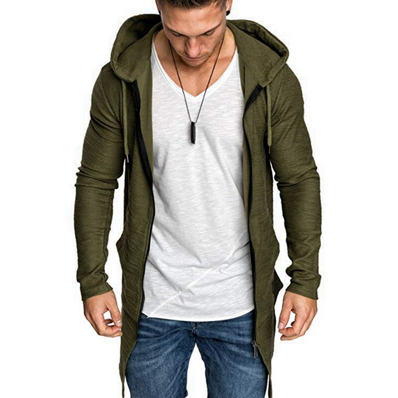 Sfit New Mens Hooded Solid Trench Coat Jacket Cardigan Long Sleeve Outwear Male Autumn Winter Slim Fit Long Coat Tops