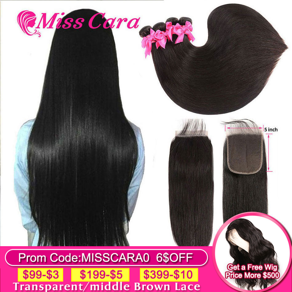 Peruvian Straight Hair Bundles With 5x5 Closure 100%Human Hair 3/4 Bundles With Closure Miss Cara Remy Hair BundlesWith Closure