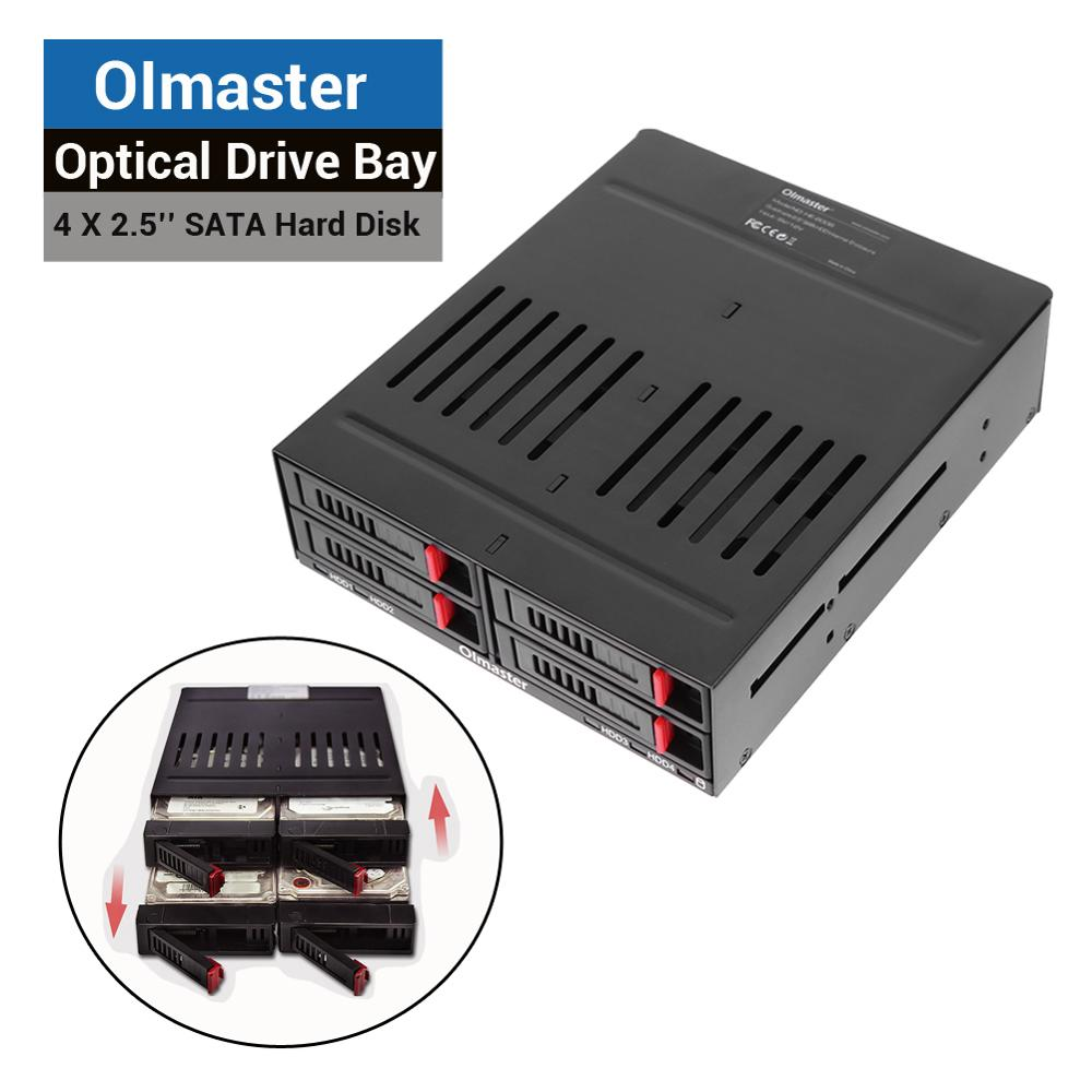 Olmaster 4 X 2.5 Inch Optical Drive Bay Internal Enclosure Case SATA Hard Drive Box HDD SSD Frame Mobile Rack Tray Station