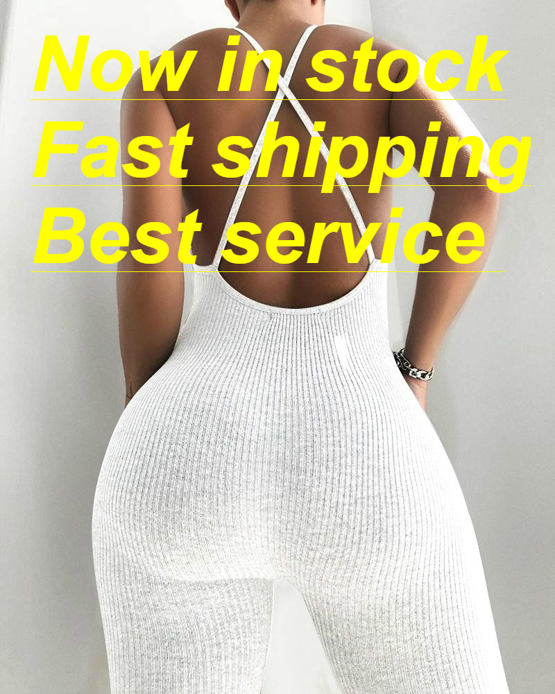 Woman V-neck Jumpsuit Knitted Ribbed Backless Solid Color Long Pants Bodysuit Jumpsuit Sports Causal Summer Jumpsuit