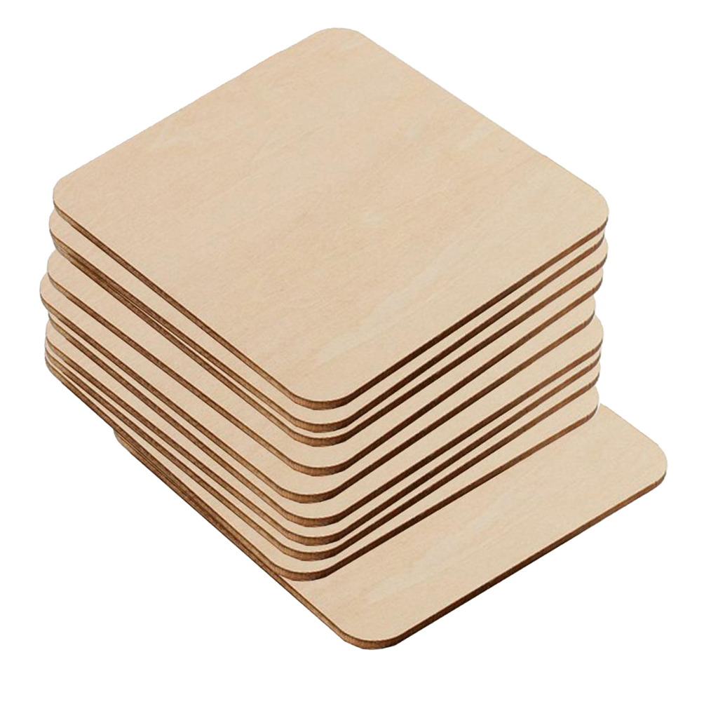 20  Pcs//Set Unfinished Wood Cutouts Square Wooden Pieces Blank for Crafts
