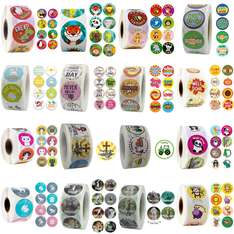 19Types Reward Stickers Encourage Labels Roll for Kids Motivational Sticker with Cute Animals for Children Students Teachers