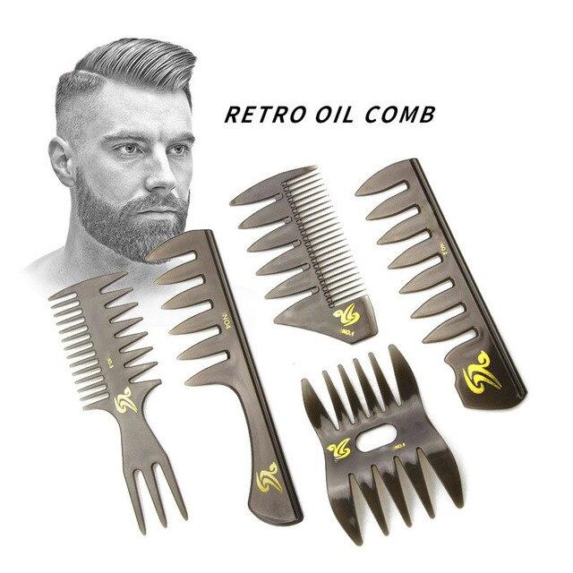 Escova de cabelo com dentes largas, garfo com pente para cabeleireiro, barba, barbeiro, ferramentas de estilo de salão profissional