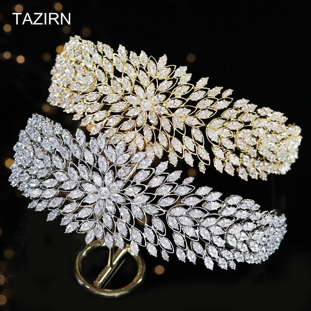 2021 New 5A Cubic Zirconia Tiaras Bride Crowns Women Bridal Headdress CZ Flowers Design Sweet 16 Headband Party Hair Accessories