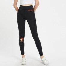 цена на Black Grey Cartoon Print Leggings Women Bottoms 2019 Autumn Elastic Waist Active Wear Leisure Skinny Long Leggings