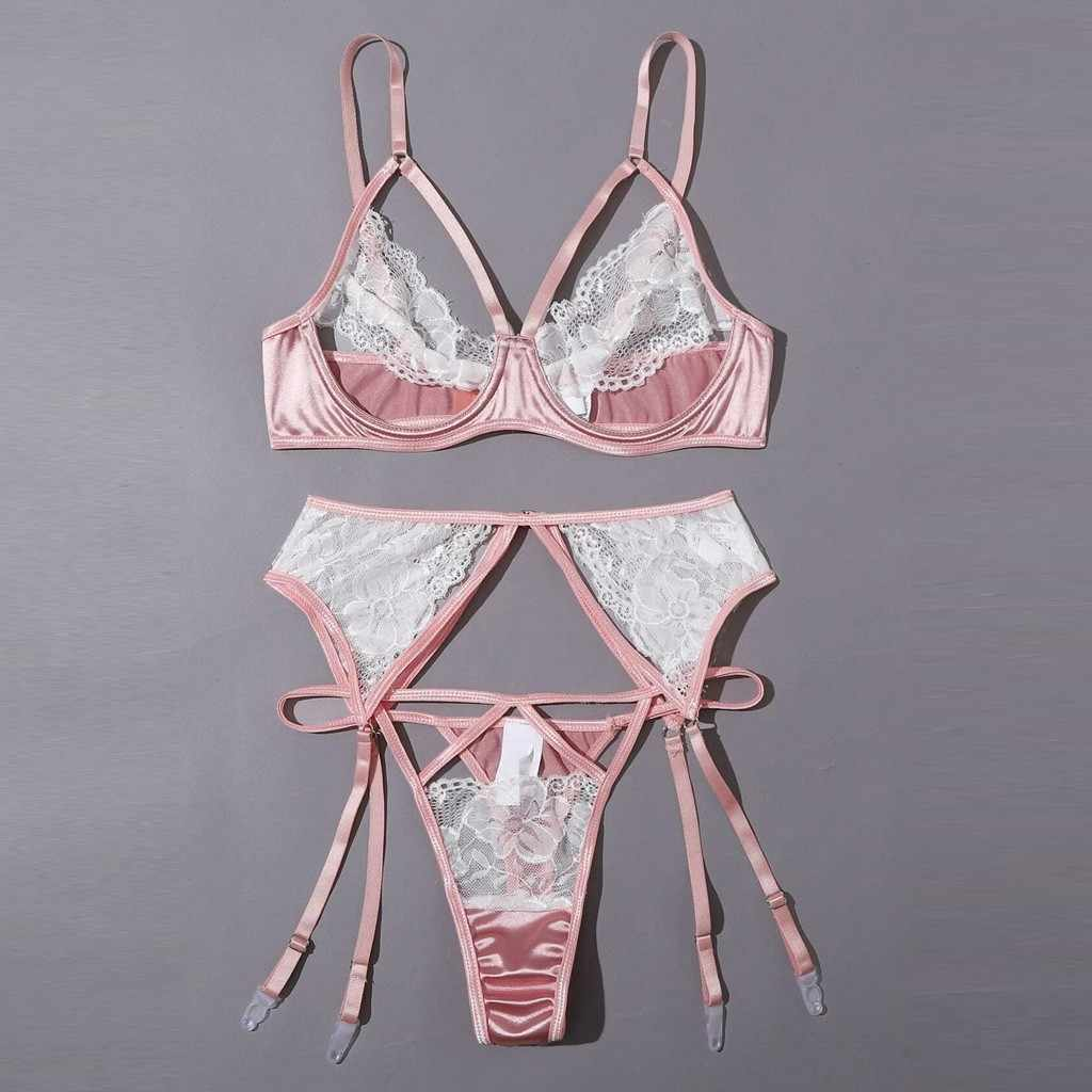Sexy Lingerie Lace G-string Thong Kousenband Ondergoed Nachtkleding G-string Embroodery Sexy Lace Bra Korte Set Нижнее Белье Женское
