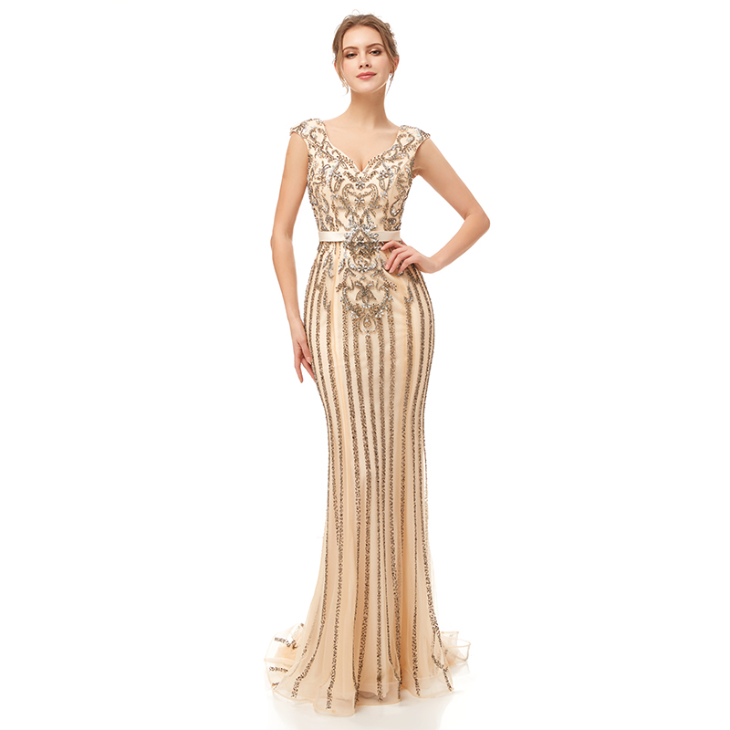 Настоящая фотография, вечерние платья с бисером и кристаллами, v-образный вырез, пышные вечерние платья цвета шампанского для помолвки