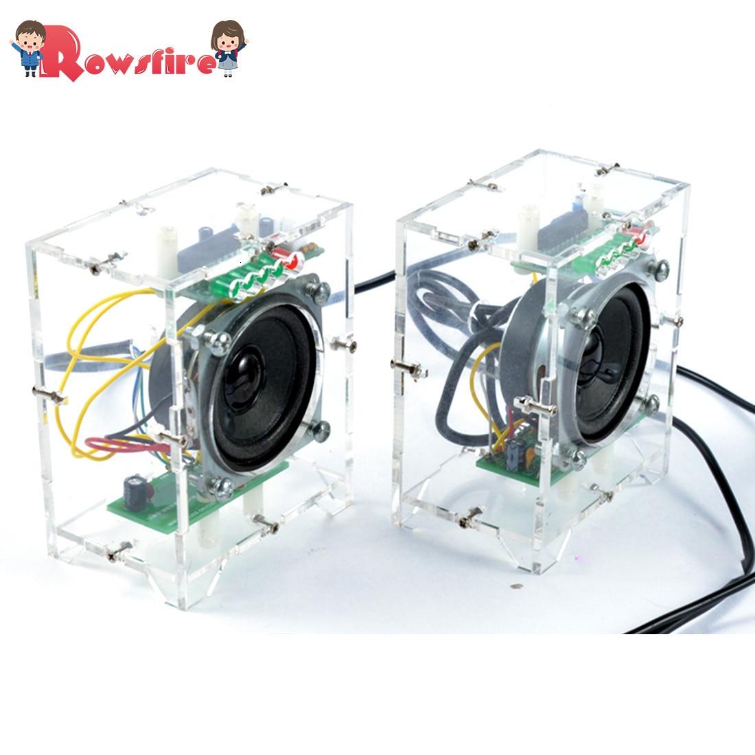 2Pcs DIY Mini Speaker Kit MP3 Small Speaker Sound Amplifier With LED Music Spectrum