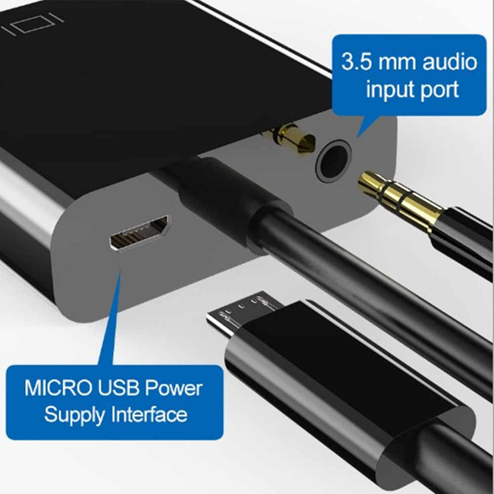 Hdmi para vga adaptador macho para famale conversor para ps4 1080 p HDMI-VGA adaptador com cabo de áudio de vídeo jack hdmi vga para caixa de tv pc