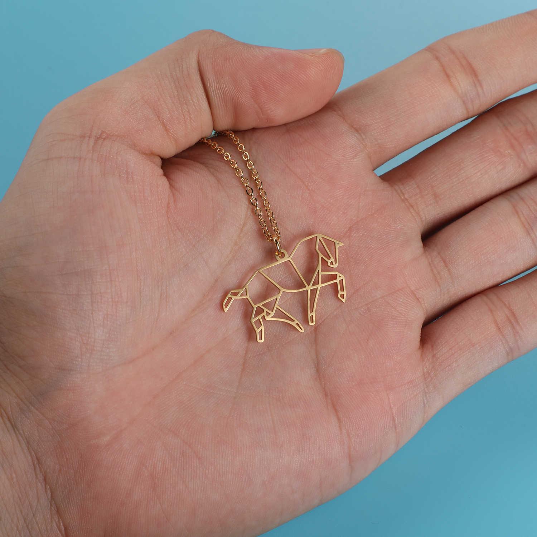 100% الفولاذ المقاوم للصدأ الحيوان الحصان الأزياء قلادة للنساء الإناث العصرية مجوهرات هدية خاصة فريد تصميم قلادة القلائد