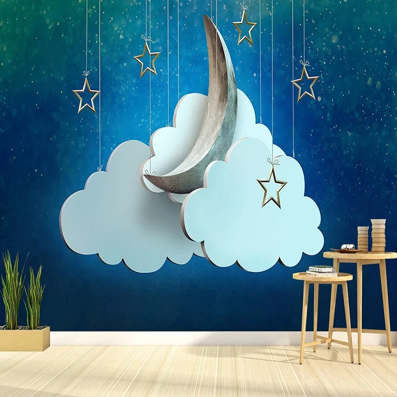 Custom Large Mural 3D Wallpaper Nordic Cartoon Fashion Creative Moon Stars Bedroom Mural TV Back Wall Decor Deep 5D Embossed