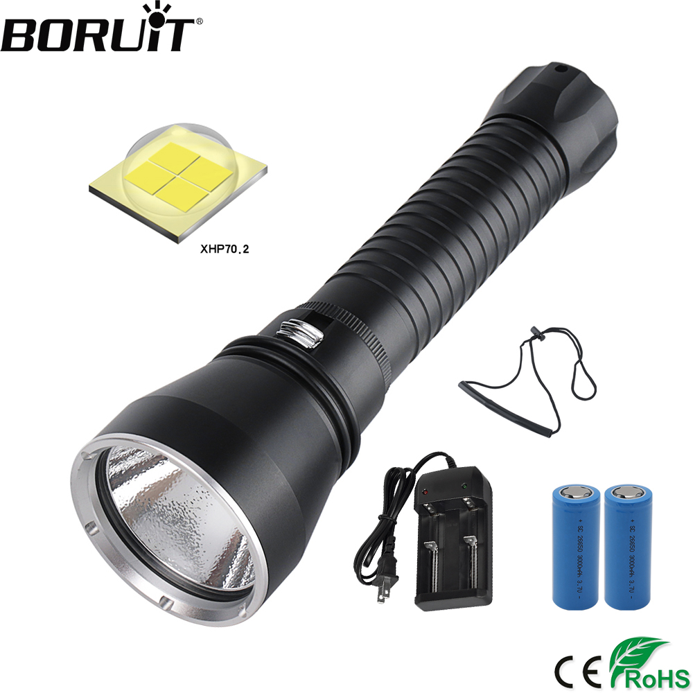 BORUiT XHP70.2 LED Yellow/White Light 4000LM Scuba Diving Flashlight Underwater 100M 26650 Torch High Power Spearfishing Light