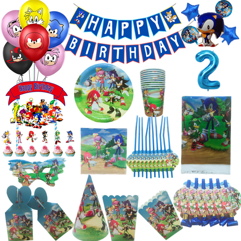 Sonic The Hedgehog Theme Birthday Party Decorations Balloon Cups Flags Plates Party Supplies Super Mario Gift Bags Supply Disposable Party Tableware Aliexpress