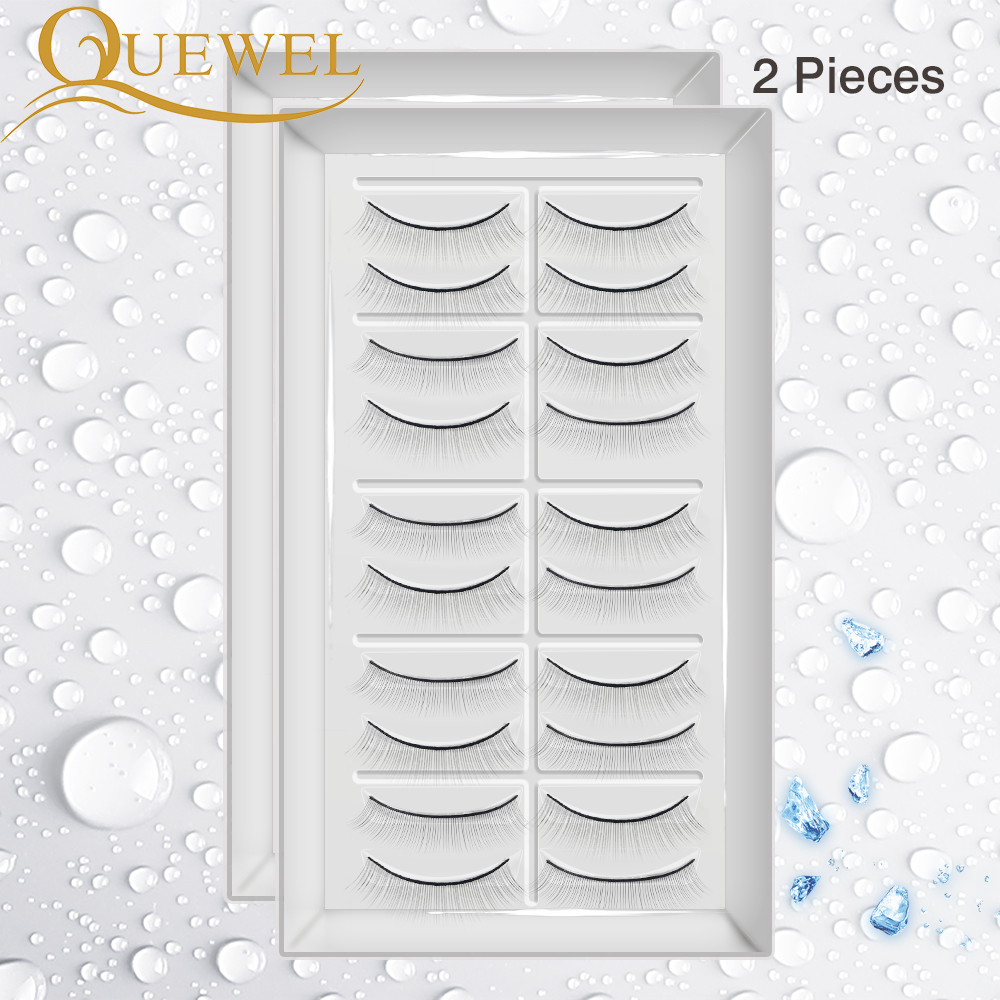 Quewel 2pcs Practice False Eyelashes 20 Pairs Training Lashes For Individual Eyelash Extensions Practicing Lash Makeup Tool