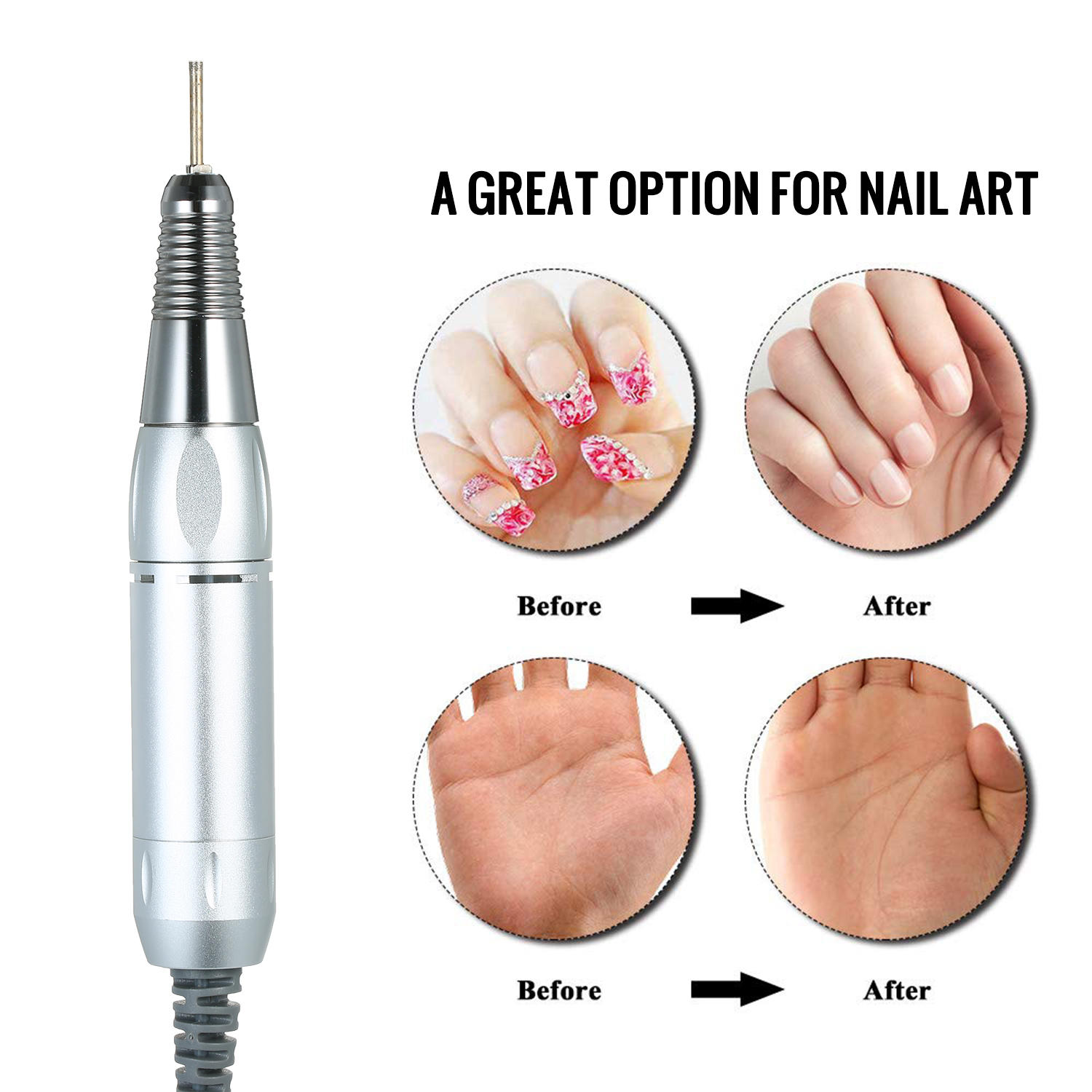 Image 4 - Electric Nail Art Drill Pen Professional Handle File Polish Grind Machine Handpiece Manicure Pedicure Tool Nail Art ToolElectric Manicure Drills   -