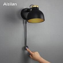 Aisilan Lámpara LED de pared minimalista, atenuación infinita, para sala de estar, dormitorio, pasillo, luz de pared