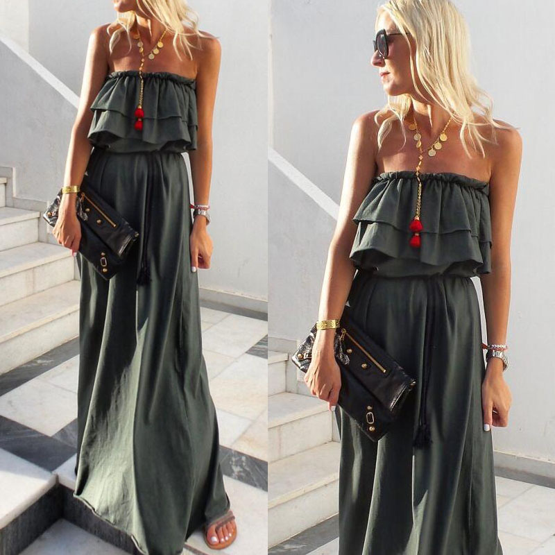 Foreign trade 2020 summer new ebay Amazon explosion models wrapped chest lotus leaf solid color dress long dress dress(China)