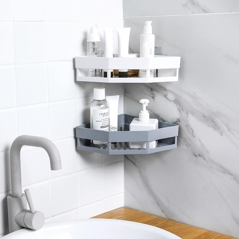 Punch Free Corner Bathroom Shelf Fixture Bathroom Supplies Shampoo Soap Plastic Organizer Storage Rack Kitchen Tripod Wall Shelf
