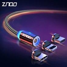 ZNQO LED Magnetic USB Kabel Schnelle Lade Typ C Kabel Magnet Ladegerät Daten Ladung Micro USB Kabel Handy Kabel USB Kabel