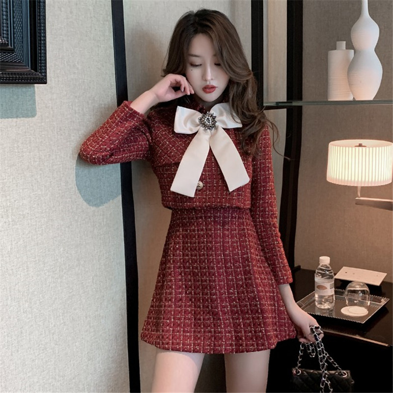 Women Fashion Outfits Two Pieces Skirt Sets 2020 Spring Bowtie Tweed Jackets&Sleeveless Mini Dress Suits Chic 2 Piece Dress Sets