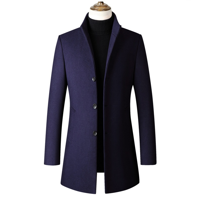 KUYOMENS Brand Men Wool Blends Coats Autumn Winter New Solid Thick Men's Wool Coats Luxurious Wool Blends Coat Male