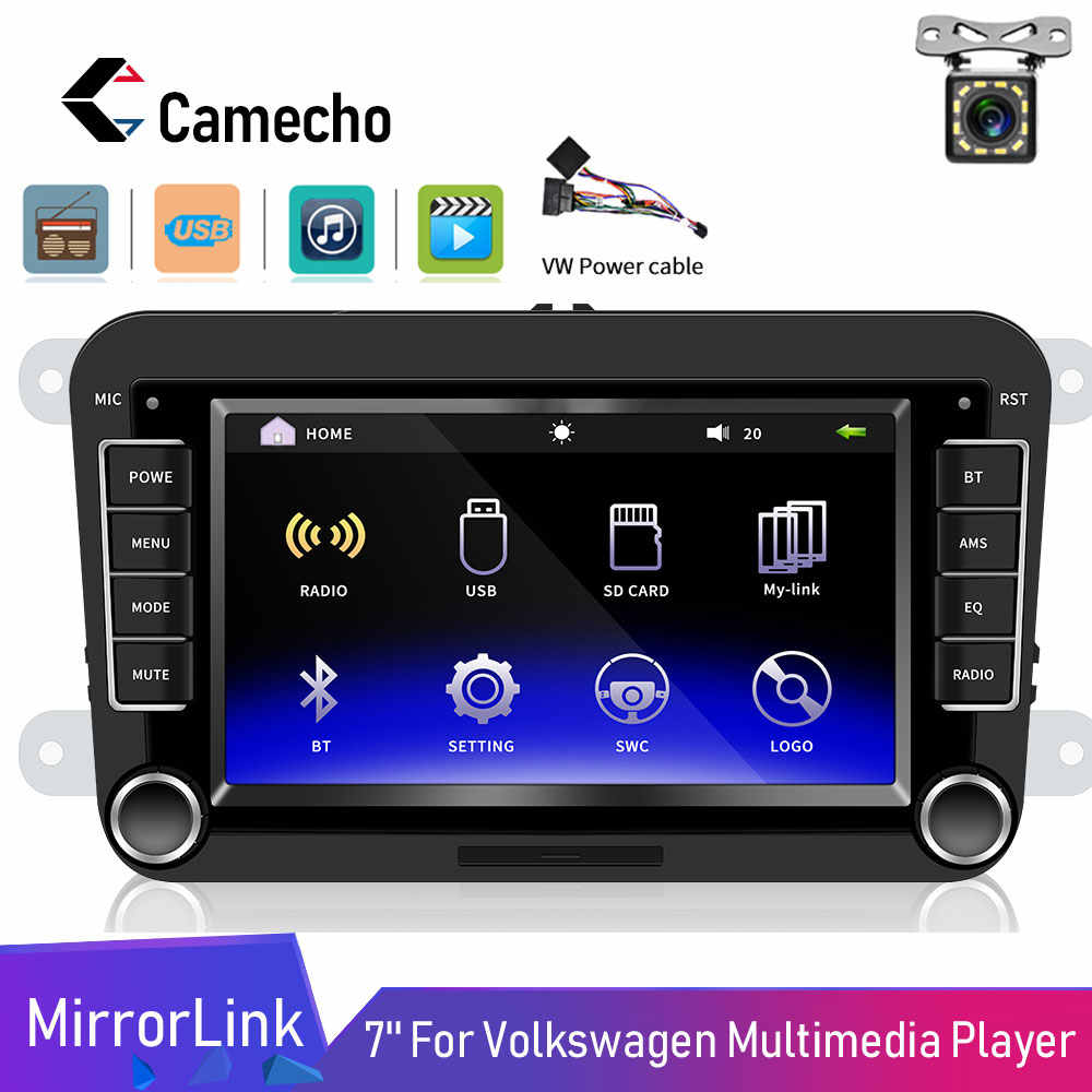 "Camecho 2din 7 ""HD reproductor Multimedia Android Mirrorlink Autoradio Bluetooth Mp5 Universal para VW Golf Skoda asiento de coche radio"