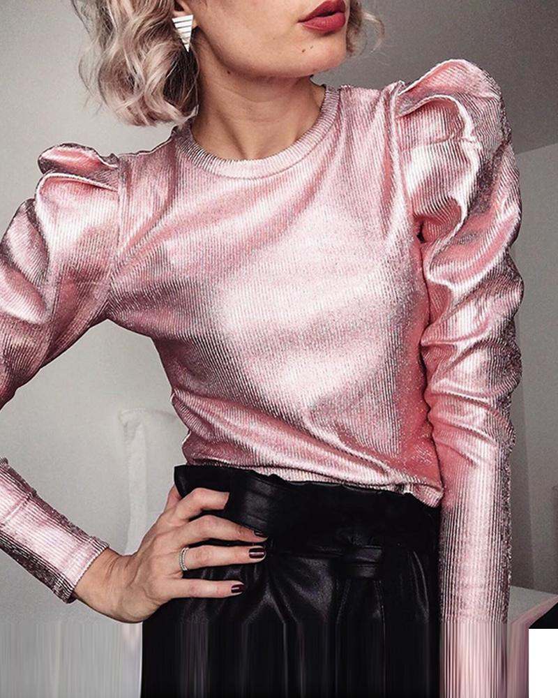 Metallic Color Puff Sleeve Top Women Autumn O Neck Pink Blouse Vintage Casual Tops Blusas