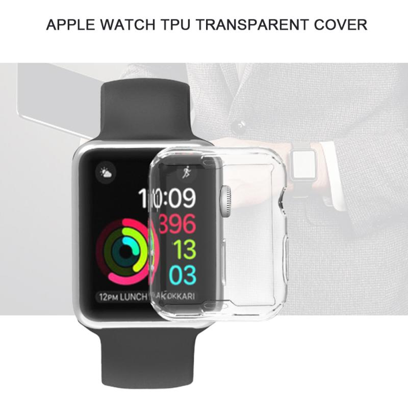 38/40/42/44mm Soft Clear TPU Screen Protector Full Cover Case Anti-drop ProBefit 360 Slim Watch Cover For Apple Watch/2/3/4
