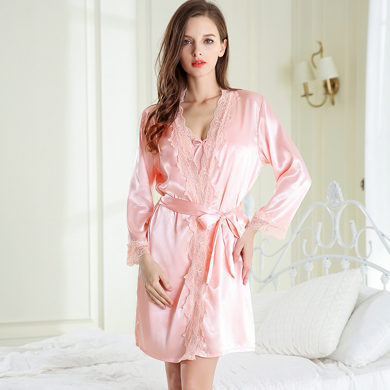 Women's Sleepwear Women's Imitated Silk Fabric Sexy Spring And Autumn Long Sleeve Women's Robes Single Women's Robes Apparel