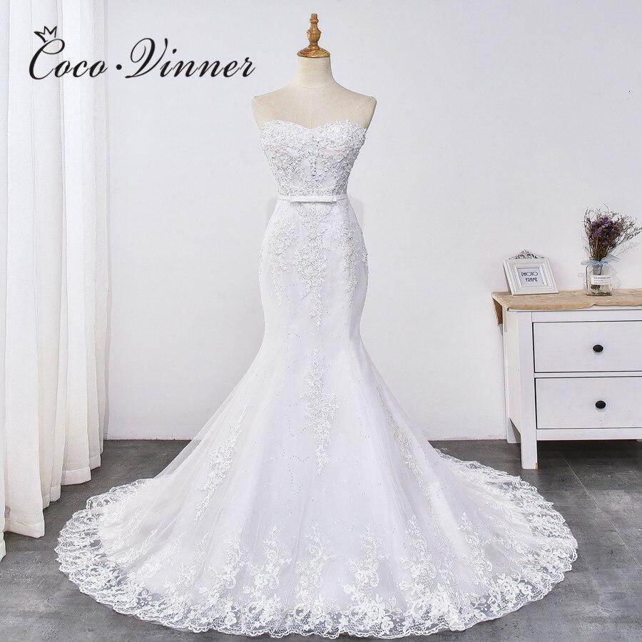 Sweetheart Off Shoulder Lace Appliques Mermaid Wedding Dress 2019 NEW Beading Sash Court Train Pure White Wedding Dresses WX0031