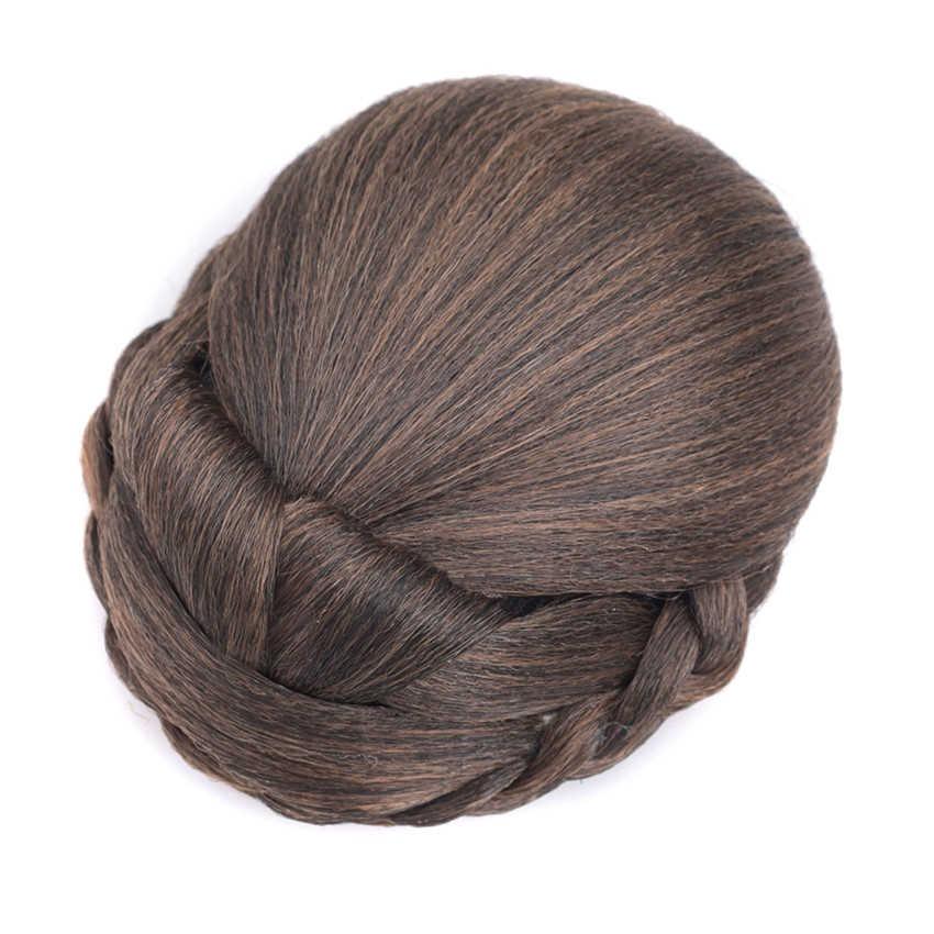 Gres bułeczki do włosów dla kobiet włosy clip in Updo blond syntetyczne treski z wysokiej temperatury dla pani
