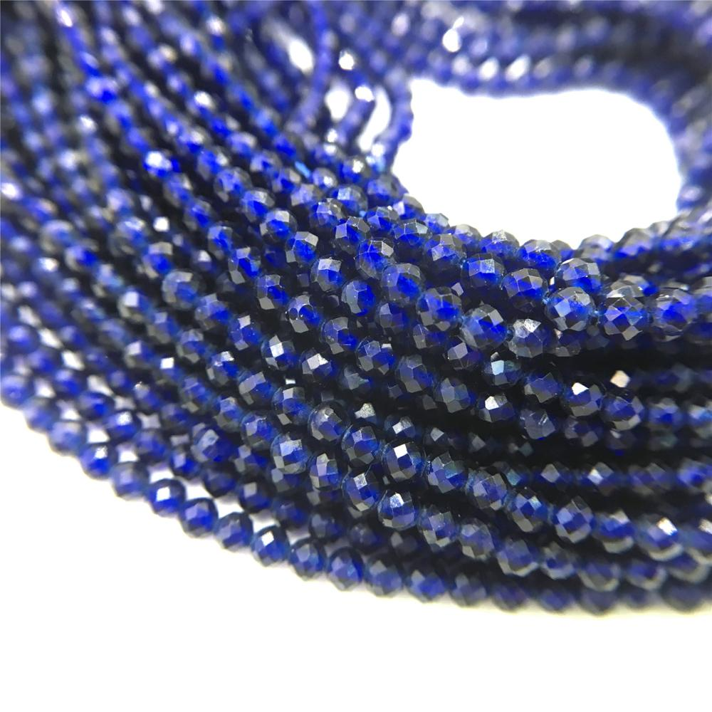 2MM DARK BLUE BLUE SAPPHIRE GEMSTONE MICRO FACETED ROUND LOOSE BEADS 15.5/""
