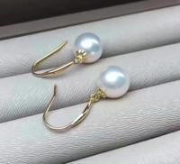 natural 10 11MM round south sea pearl earrings 14K GOLD