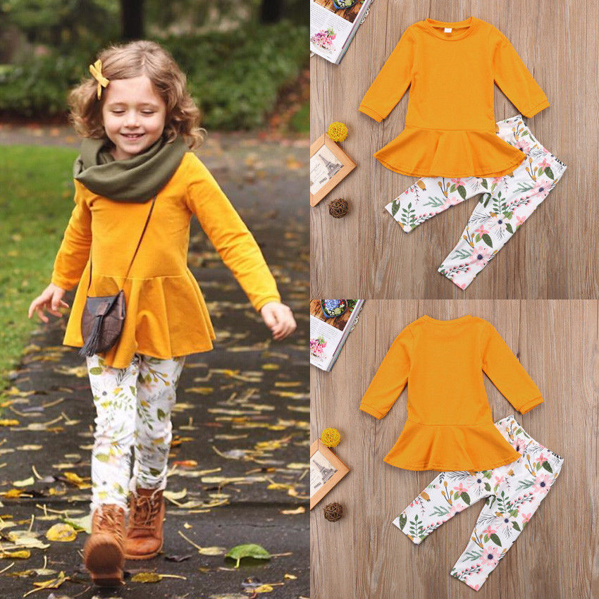 2Pcs Toddler Kids Girls Clothing Set Long Sleeve Solid T Shirt Tops Dress Floral Pants Child Fashion Outfits