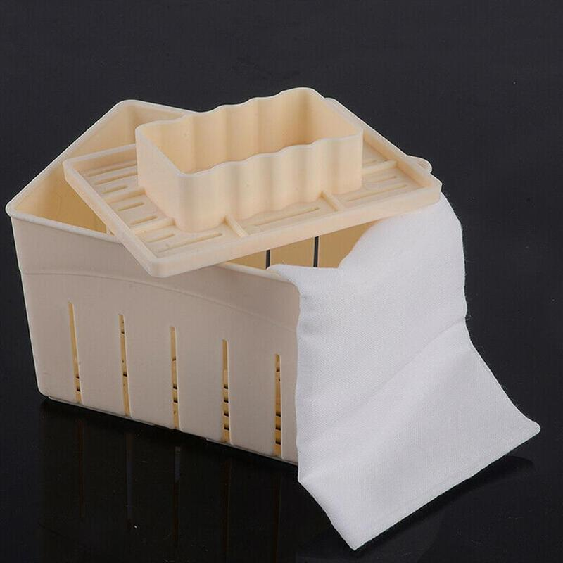 Tofu Making Machine with cloth <font><b>Plastic</b></font> Homemade Tofu Maker Press Mold Kit Soy Pressing <font><b>Mould</b></font> With <font><b>Cheese</b></font> Cloth Ustensile Cuisine image