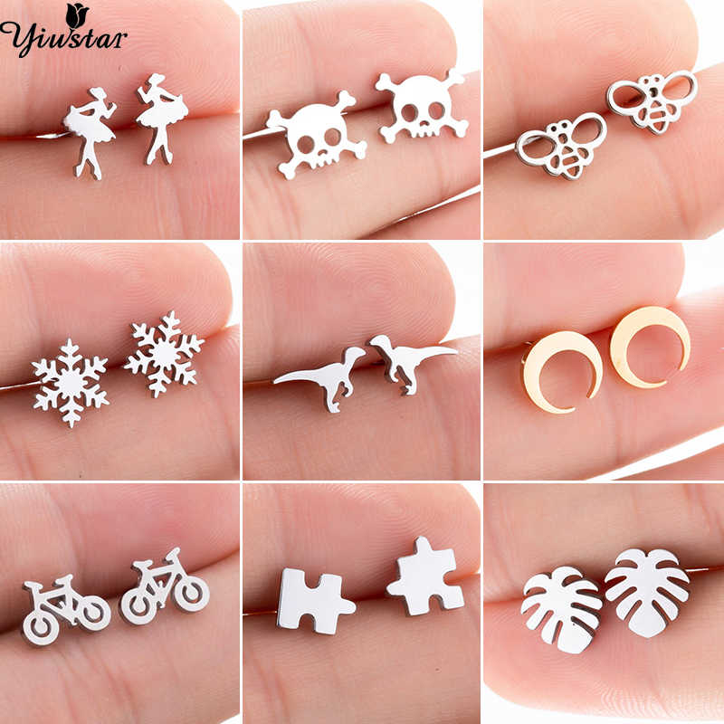 Yiustar Small Mini Cute Ballet Earrings for Women Kids Girls Piercing Jewelry Tiny Stainless Steel Stud Earring Birthday Gifts