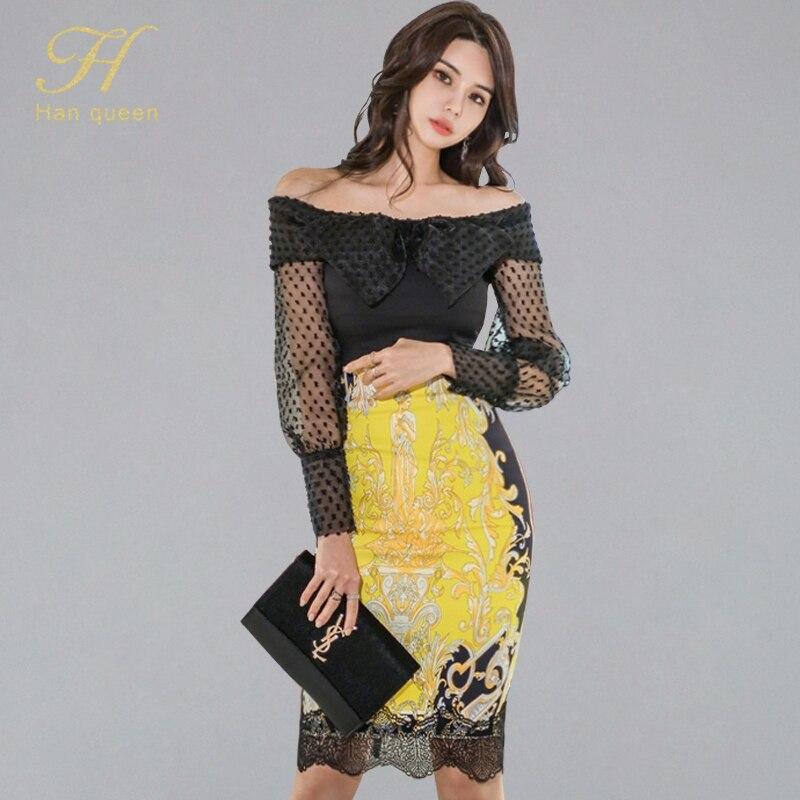 H Han Queen Women's OL 2 Pieces Suits Slash Neck Bow Shirt Crop Top + High Waist Print Sexy Sheath Bodycon Pencil Skirt Work Set