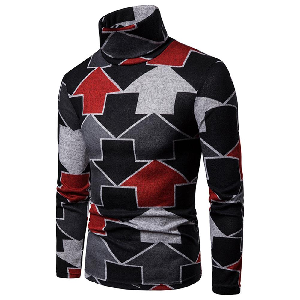 2020 Lowest Price Colorful Arrow Print Winter High Neck Long Sleeve Jumper Men Slim Pullover Top