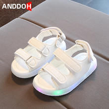 Size 21-30 Baby Toddler Shoes Boys Anti-slippery Sandals with Lights Girls Lightweight Breathable Shoes Children Glowing Sandals cheap ANDDOH Rubber 13-24m 25-36m CN(Origin) Summer unisex Soft Leather Flat Heels Hook Loop JUTE Fits true to size take your normal size