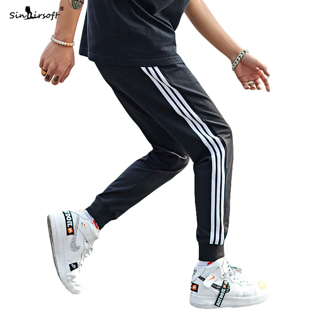 Men's Jersey Pants Fashion Skinny Sweatpants Male Side Striped Slim Fitted Gyms Trousers Sportwear Breathable Pencil Pant Summer